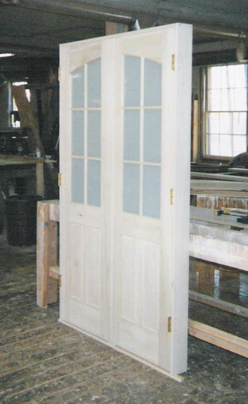 Custom made interior solid wood doors french arch top for Interior double french doors